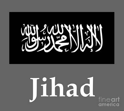 Jihad Mixed Media - Jihad Flag And Name by Frederick Holiday