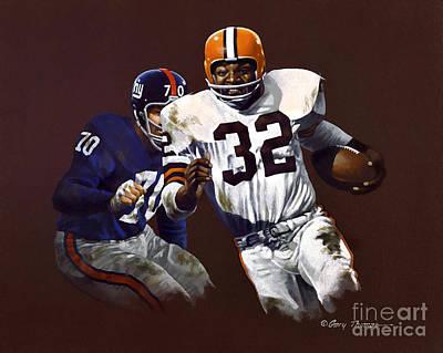 Athletes Painting - Jim Brown Vs Ny Giants by Gary Thomas