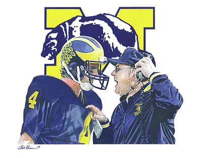 University Of Michigan Mixed Media - Jim Harbaugh And Bo Schembechler by Chris Brown