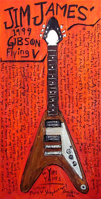 Woody Guthrie Painting - Jim James Gibson Flying V by Karl Haglund