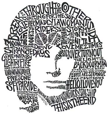 Singer Drawing - Jim Morrison Black And White Word Portrait by Kato Smock