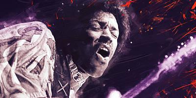 Guitar Digital Art - Jimi Hendrix by Afterdarkness