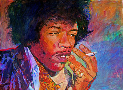 Jimi Hendrix Dreaming Print by David Lloyd Glover