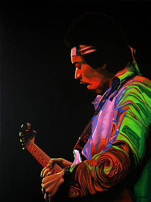 Jimi Hendrix Painting 4 Print by Paul Meijering