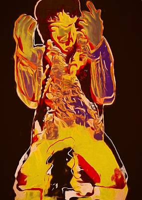 Jimi Setting Guitar On Fire Print by Dan Sproul