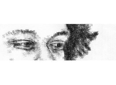 Typewriter Drawing - Jimi's Eyes Typewritten by Robert Doerfler