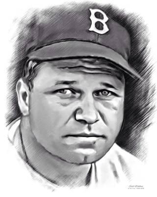 Jimmie Foxx Sketch Print by Scott Wallace