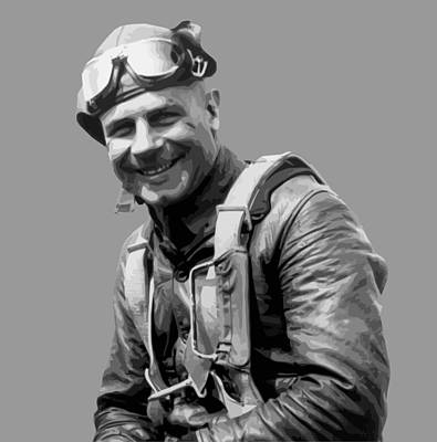Aviator Print featuring the painting Jimmy Doolittle by War Is Hell Store
