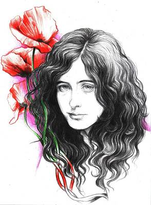 Jimmy Page Drawing - Jimmy by Mary Marchenko