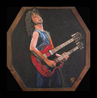 Jimmy Page And His Double Neck Guitar Original by Bruce Schmalfuss