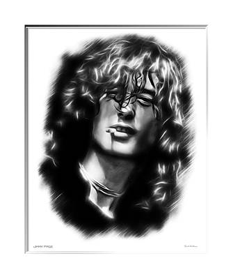 Robert Plant Digital Art - Jimmy Page Portrait  by Scott Wallace