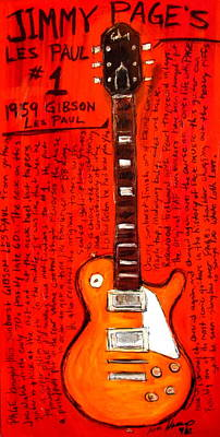 Jimmy Page Painting - Jimmy Page's Les Paul Number1 by Karl Haglund