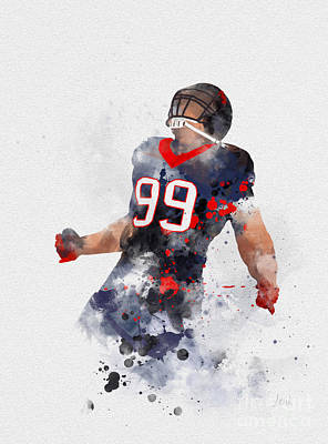 Jj Mixed Media - Jj Watt by Rebecca Jenkins