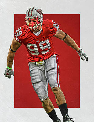 Jj Painting - Jj Watt Wisconsin Badgers Art by Joe Hamilton