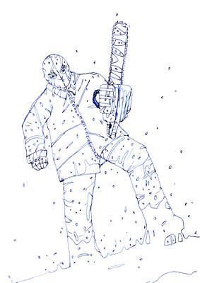 Dark Evil Scary Drawing - Jjr Comic Character A By Typhoonart by Joerg Federmann Typhoonart