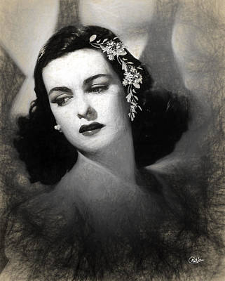 Joan Bennett Drawing - Joan Bennett Draw by Quim Abella
