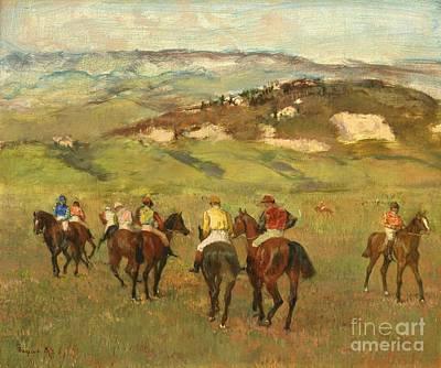 Horseback Painting - Jockeys On Horseback Before Distant Hills by Edgar Degas