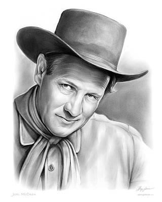Westerns Drawing - Joel Mccrea by Greg Joens