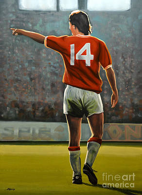 Los Angeles Painting - Johan Cruyff Oranje Nr 14 by Paul Meijering
