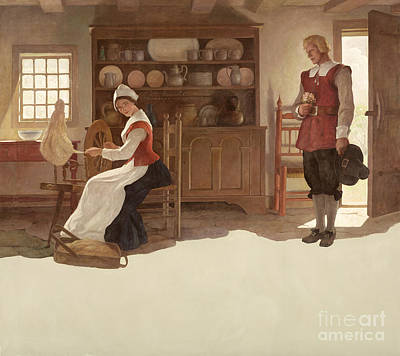 Interior Scene Painting - John Alden And Priscilla by Newell Convers Wyeth