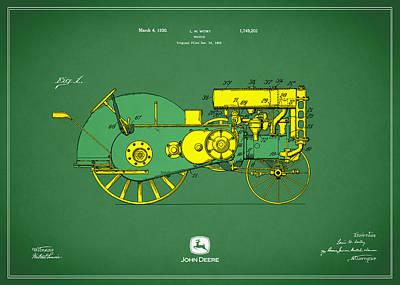 Retro Photograph - John Deere Tractor Patent by Mark Rogan