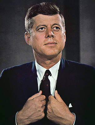 John F Kennedy Print by American School