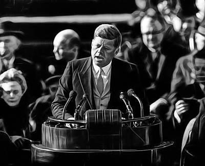 John F Kennedy Print by Marvin Blaine