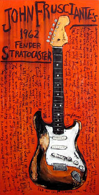Musicians Painting - John Frusciante 1962 Stratocaster by Karl Haglund