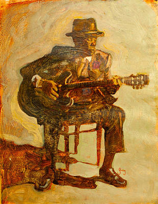 Oil Portrait Painting - John Lee Hooker by Michael Facey