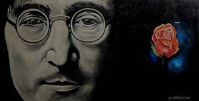 John Lennon Drawing - John Lennon - Peace by Eddie Lim