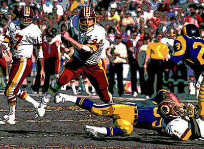 Redskins Mixed Media - John Riggins On The Move by Charles Shoup
