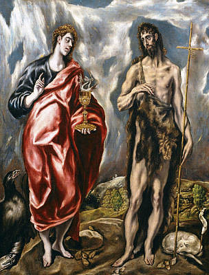 Mannerism Painting - John The Baptist And John The Evangelist  by El Greco