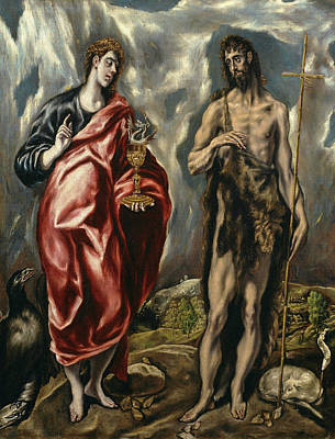 Baptism Painting - John The Baptist And Saint John The Evangelist by El Greco