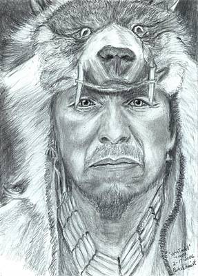 Trudell Drawing - John Trudell - Coyote by Bob Schmidt