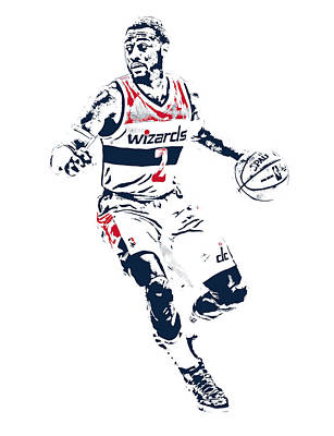 Wizard Mixed Media - John Wall Washington Wizards Pixel Art 1 by Joe Hamilton