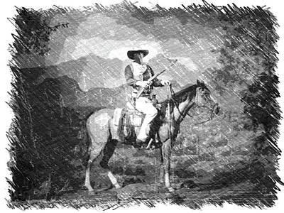 The View Mixed Media - John Wayne At The Ready On Horseback Pa 01 by Thomas Woolworth