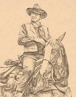 John Wayne Drawing - John Wayne by Bob Smerecki