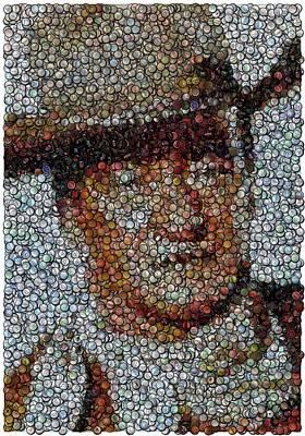 John Wayne Bottle Cap Mosaic Print by Paul Van Scott