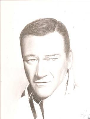 John Wayne Drawing - John Wayne by Chris Jorge
