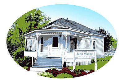 John Wayne Drawing - John Wayne Home by Greg Joens
