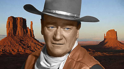 Icon Mixed Media - John Wayne Portrait by Daniel Hagerman