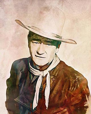 Digital Art - John Wayne - The Portrait by Darlanne