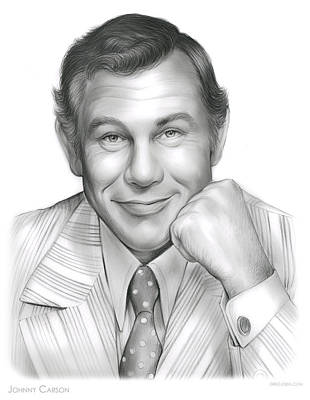 Johnny Carson Drawing - Johnny Carson by Greg Joens