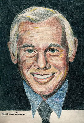 Johnny Carson Drawing - Johnny Carson by Michael Lewis