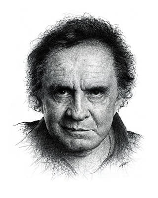 Johnny Cash Drawing - Johnny Cash by Christian Klute