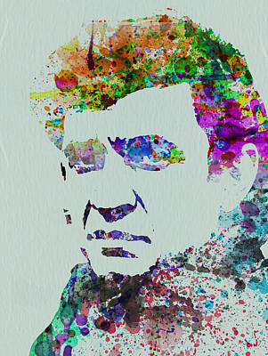 Johnny Cash Painting - Johnny Cash Watercolor 2 by Naxart Studio