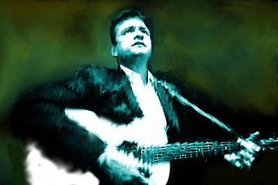 Johnny Cash Watercolor  Original by Enki Art