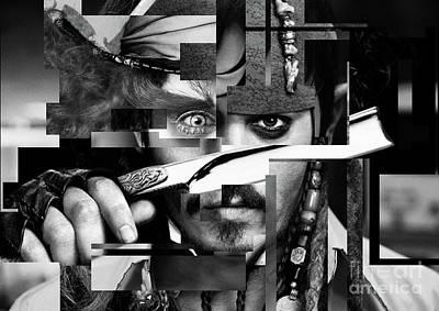 Johnny Depp - Collage Art Abstract - Black And White Print by Prar Kulasekara