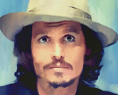 Johnny Depp Digital Art - Johnny Depp Portrait 01 by Yury Malkov