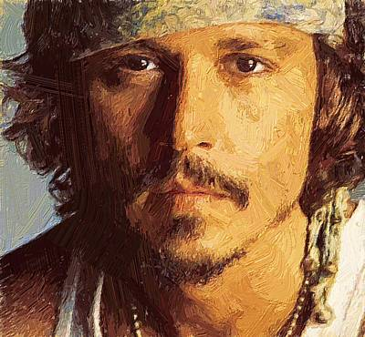 Johnny Depp Digital Art - Johnny Depp Portrait by Yury Malkov